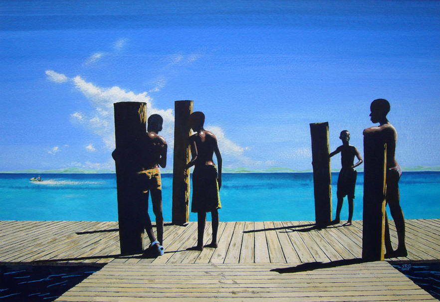 Boys on the jetty, painting by Stephen Gray
